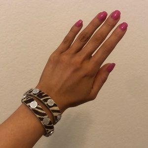 Rustic Cuff Zebra Wrap Bracelet